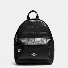 Coach Mini Campus Backpack In Croc Embossed Leather 37713 Silver And Black