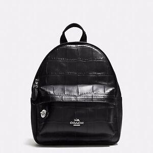 Détails sur Coach Mini Campus Sac à dos croco en cuir estampé 37713 argent  et noir- afficher le titre d'origine