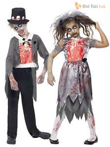 Age 4 14 Kids Zombie Bride Groom Costume Child Boys Girls Halloween Fancy Dress Ebay