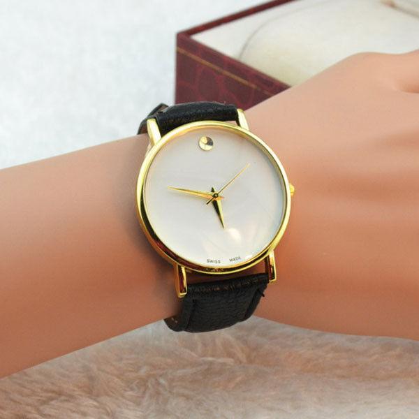 Women's Leatheriod Simple Dial Black PU Band Quartz Analog Wrist Watch Casual