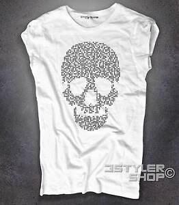 T-shirt-donna-bianca-teschio-skull-pixel-roba-da-grafici
