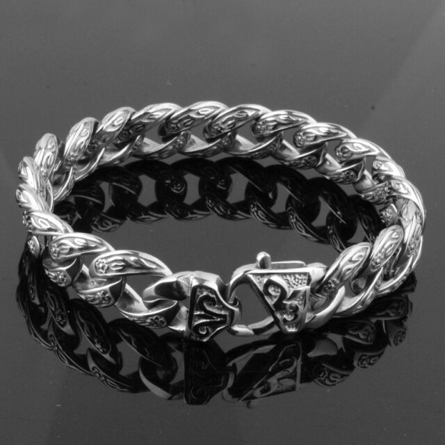 15mm Punk Casting 316L Stainless Steel Silver Curb Cuban Chain Men's Bracelet 9