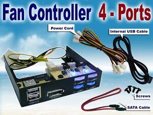 4x-Port-FAN-CONTROLLER-w-USB-SATA-Black-3-5-NEW-Computer-Hardware-Electronic