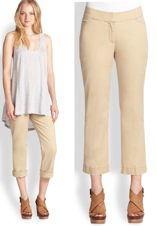 168 Eileen Fisher Sarga de algodón lavado recto  Recortada Pantalones Tencel Stretch  bienvenido a orden