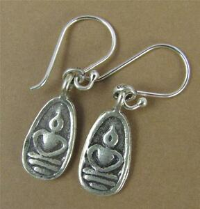 d7e273bd0 Image is loading Buddha-earrings-Solid-fine-silver-with-sterling-hooks-