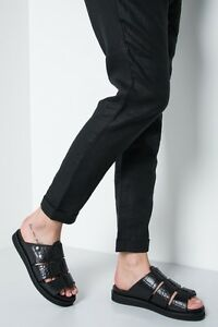 H-BY-HUDSON-Black-Croc-Leather-Flats-Sandals-Slippers-Mule-Sliders-Shoes-4-To-6