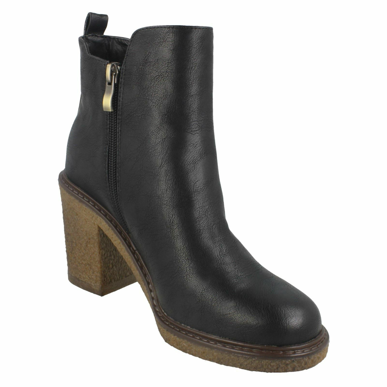 LADIES DOWN TO EARTH WINTER HIGH HIGH HIGH HEELED ZIP UP CASUAL ANKLE Stiefel Schuhe F5R0958 d96732