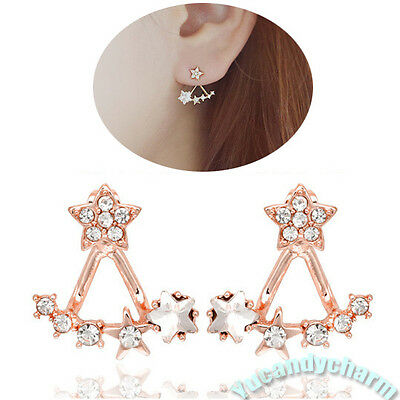 Made in Korea Unique Back Drop Stars gem earrings studs SET White Rose Gold