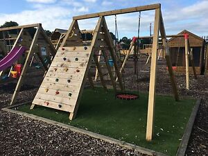 Climbing Frame New York Wooden Swing Set Slide Pressure Treated