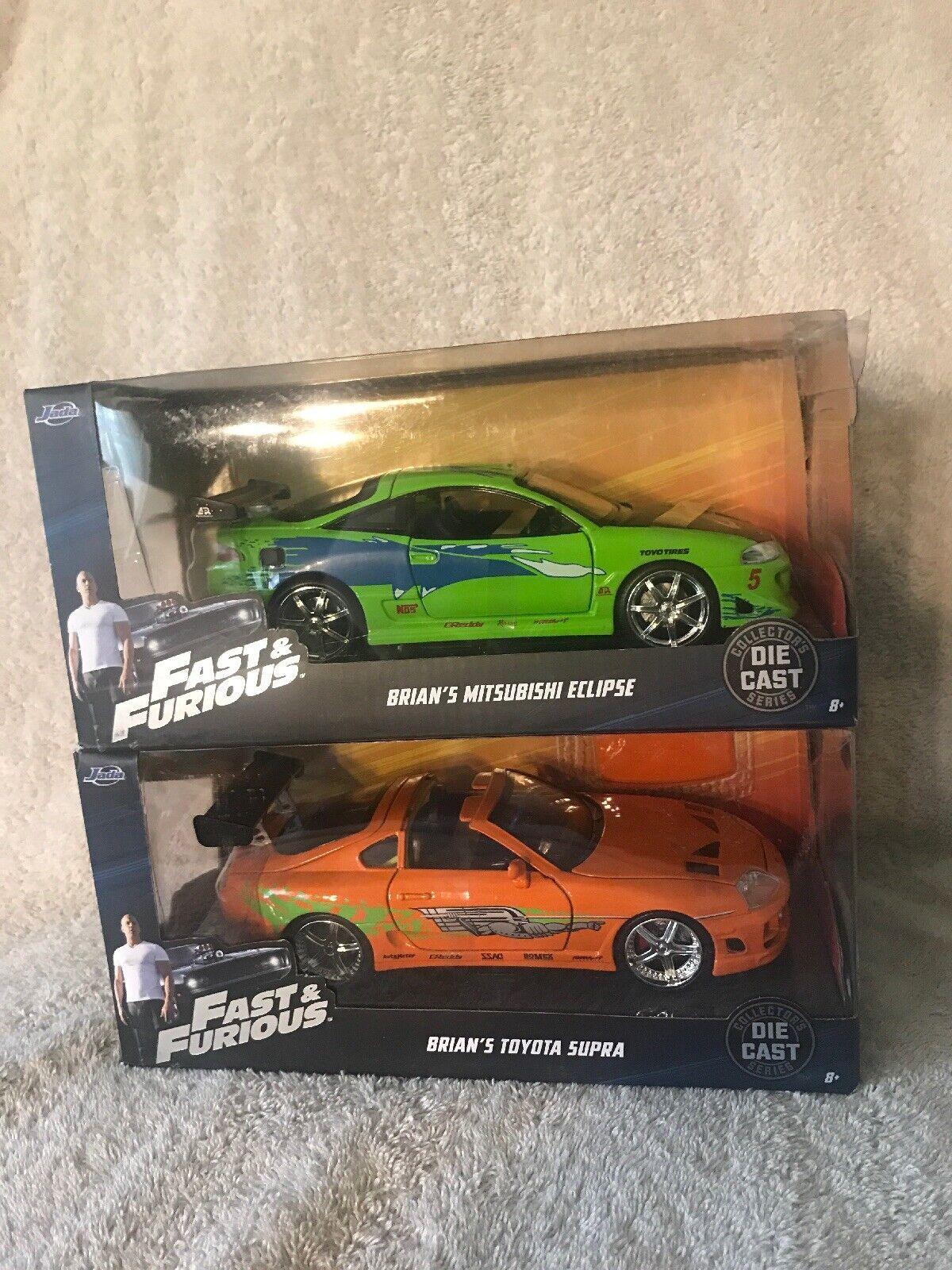 Jada 1 24 Fast & Furious Brian's 95 orage Toyota Supra + BRIAN'S vert eclipse