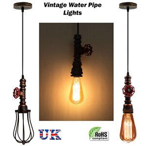 Vintage-Industrial-Rustique-Steampunk-Metal-Hookah-plafond-pendentif-sans-Ampoule