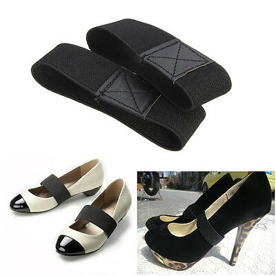 Black Elastic Shoe Strap Lace Band For Holding Loose High Heeled Shoes Dancing