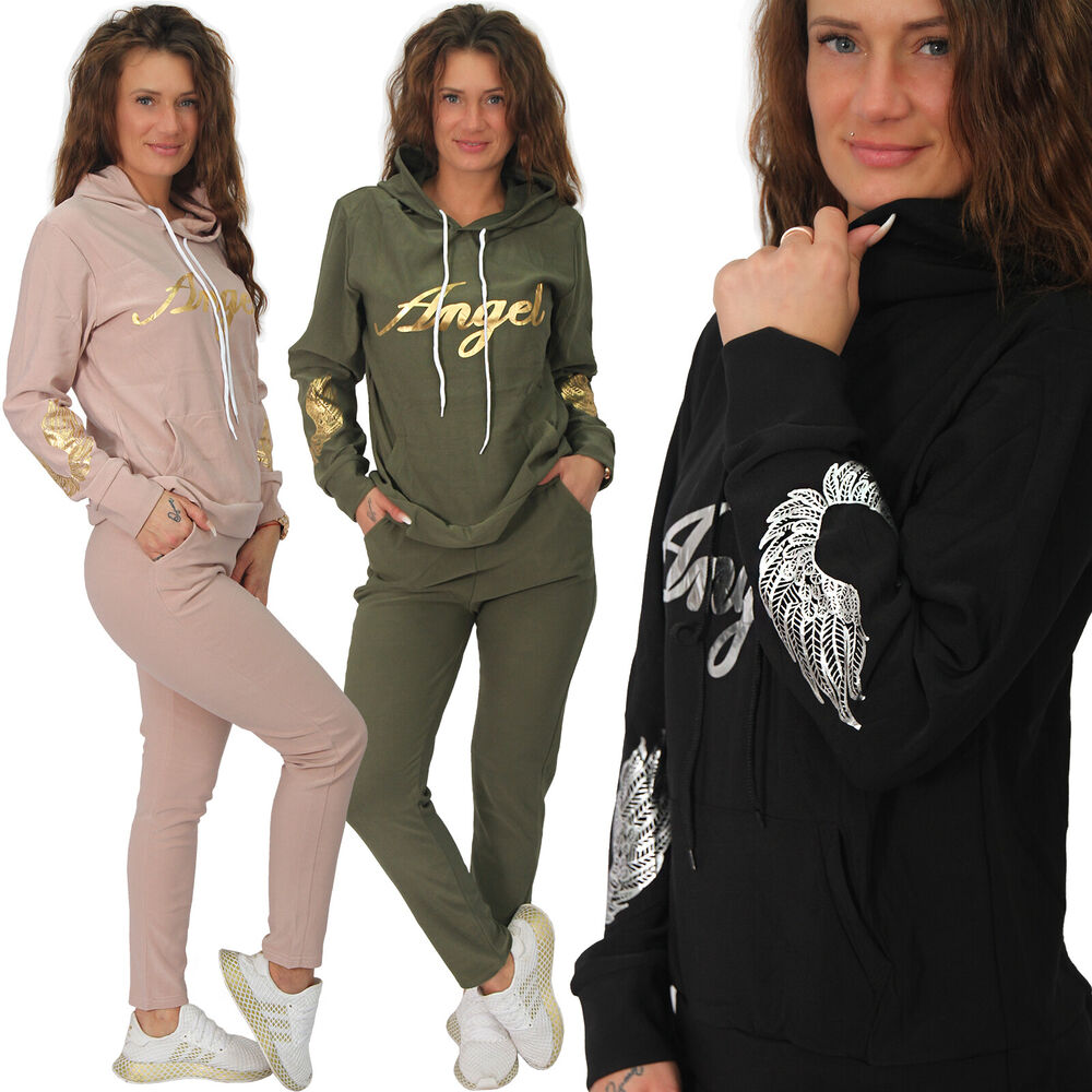 2tlg Femmes Angel Ailes Survêtement Jogging Costume Capuche Sport Costume Survêtement