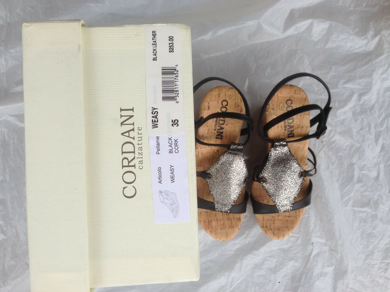 New CORDANI CORDANI CORDANI Cork Platform Wedge WEASY Metallic Wedge Sandal chaussures  253 sz 35 36 1a50cd