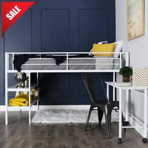 Details about Metal Loft Bed Frame For Kids With Desk Twin Teen Student  Storage Bunk Furniture