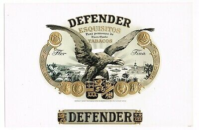 Generous Cigar Box Label Vintage 1919 Embossed Wwi Defender Bald Eagle Moehle Litho Co Collectibles Quell Summer Thirst Tobacciana
