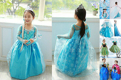New Style Frozen Princess Queen Elsa Anna Cosplay Costume Party Fancy Dress 3-8Y