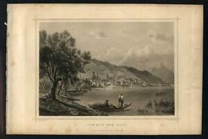 Forceful Vista Zug Per La Piede Del Mont Rigi Incisione Originale 1850 To Produce An Effect Toward Clear Vision Other Antiques