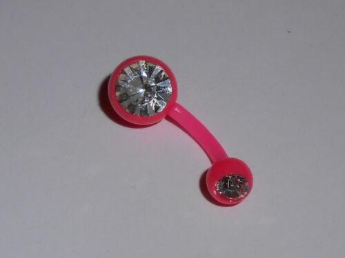 Piercing Nombril Banane1,6x10mm Bioflex Rose clair Boule 1 strass Diamant PIE325