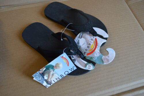 Rainbow Black Boys Youth Leather Sandals The Grombows New//Defects