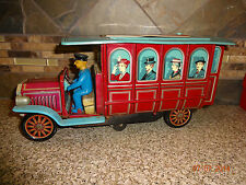 Vintage TradeMark Japan Tin Vehicle Red/Aqua Bus With Driver Battery Operated