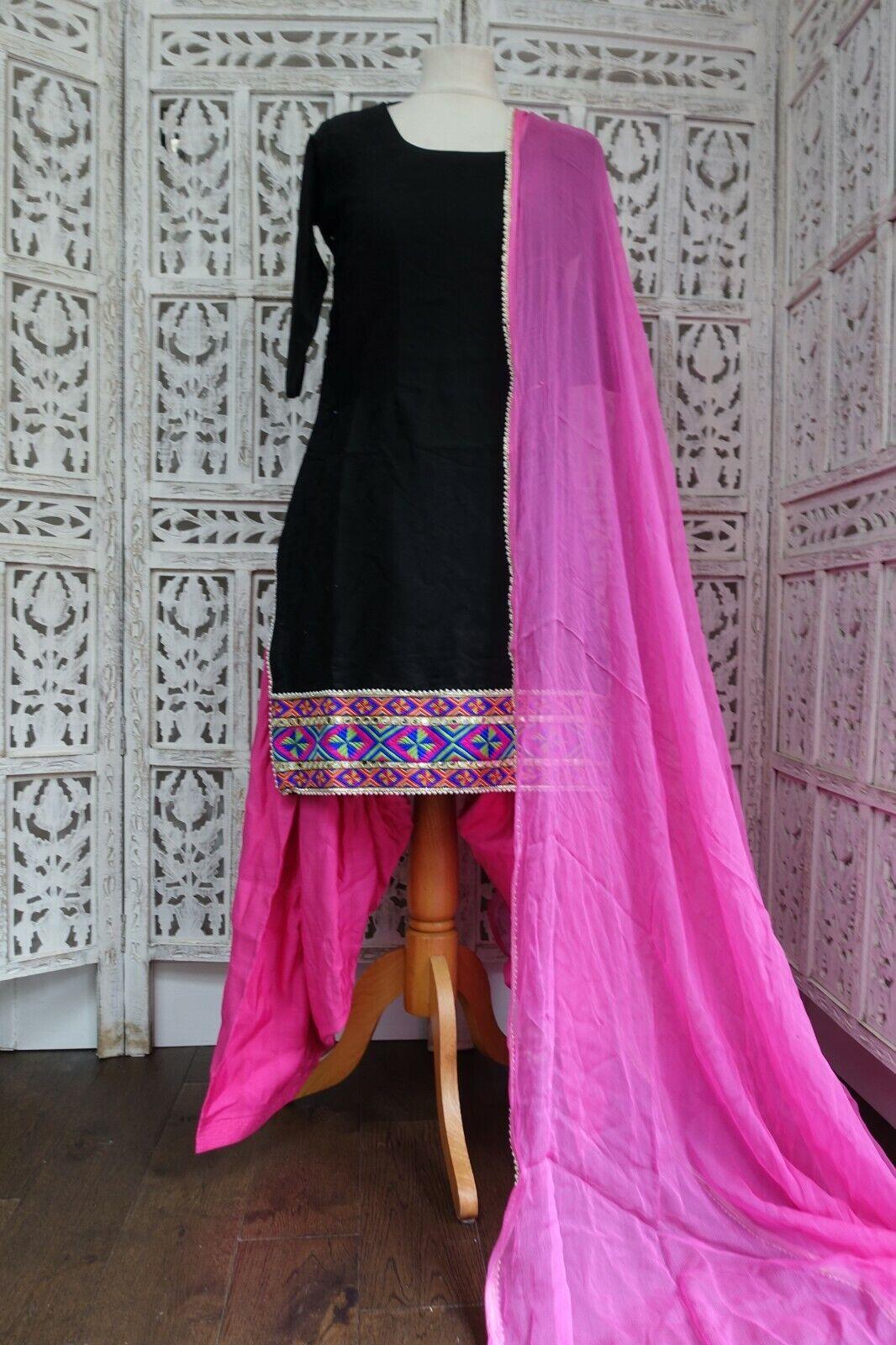 Black & pink Indian salwar kameez UK Size 10 / EU 36 – preloved - SKU16480