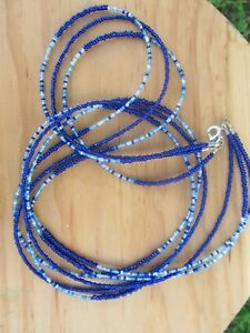 TRIPLE-STRAND-034-BLUE-MY-MIND-034-AFRICAN-WAIST-BEADS-BELLY-CHAINS-WAISTBEADS