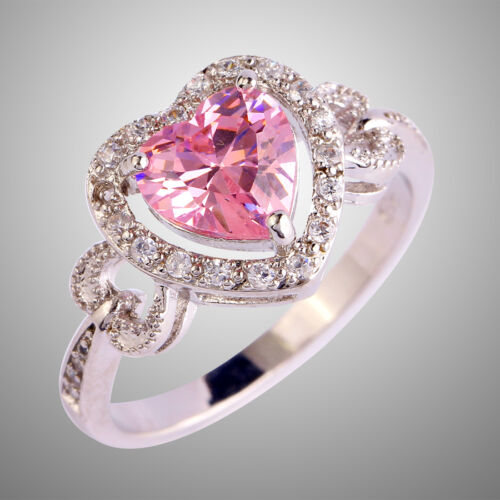 Mariage Cadeaux Coeur Cut PINK /& WHITE TOPAZ GEMSTONES Silver Ring Taille 6 7 8 9 10