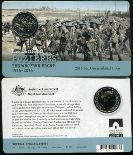 AUSTRALIA 50 CENTS 2016 THE BATTLE OF POZIERES THE WESTERN FRONT COIN