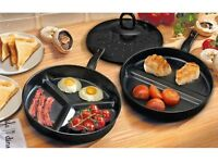 3in1 DIVIDE WONDER COMBO DIVIDED FRYING PAN SET NON STICK DELICIOUS BREAKFAST