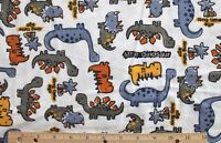 SNUGGLE FLANNEL -LITTLE DINOSAUR'S GRAY-ORANGE-BLUE/WHITE 100% Cotton Fabric BTY