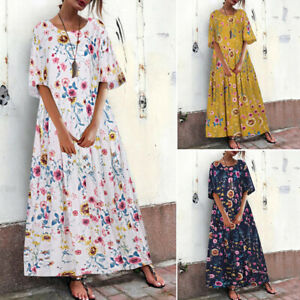 ZANZEA-Womens-Floral-Print-T-Shirt-Dress-Long-Shirt-Dress-Sundress-Midi-Dress-US