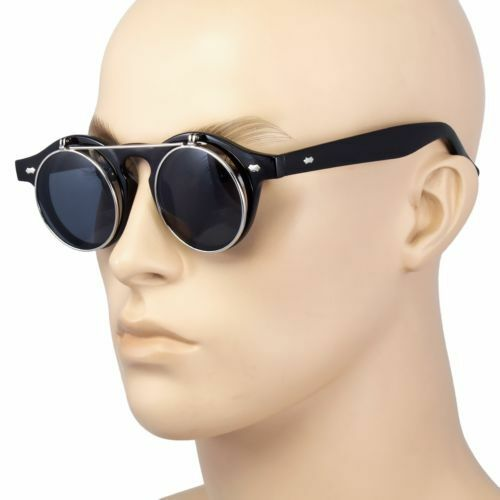 Cool Flip Up Lens Steampunk Vintage Retro Style Round Sunglasses Tortoise Gold A