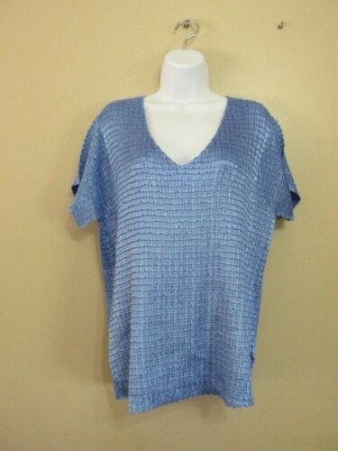 Jaclyn Smith 1x Woven Pucker  Blue Top Poly Stretch