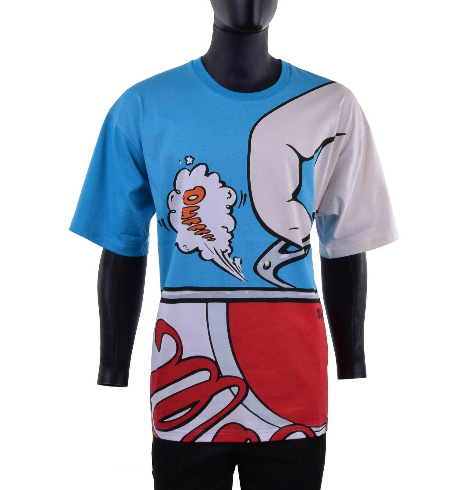 MOSCHINO COUTURE RUNWAY T-Shirt mit Print  Drink Moschino  Blau Rot 05428