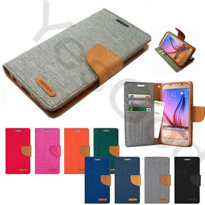 Goospery-Canvas-Diary-Slim-Flip-Leather-Wallet-Case-Cover-For-iPhone-Galaxy-LG