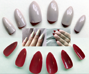 Details About Hand Painted False Nails Stiletto Or Any Shape Maleficent Nude And Red Reverse