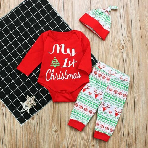 Newborn Infant Baby Girl Boy Christmas Clothes Jumpsuit Romper Pants Outfits