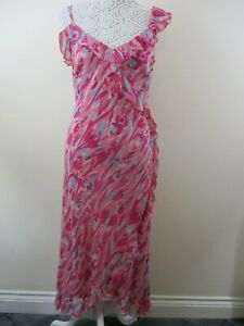 Monsoon-100-silk-maxi-dress-size-12-pink-pale-green-floral-frills-elegant-party