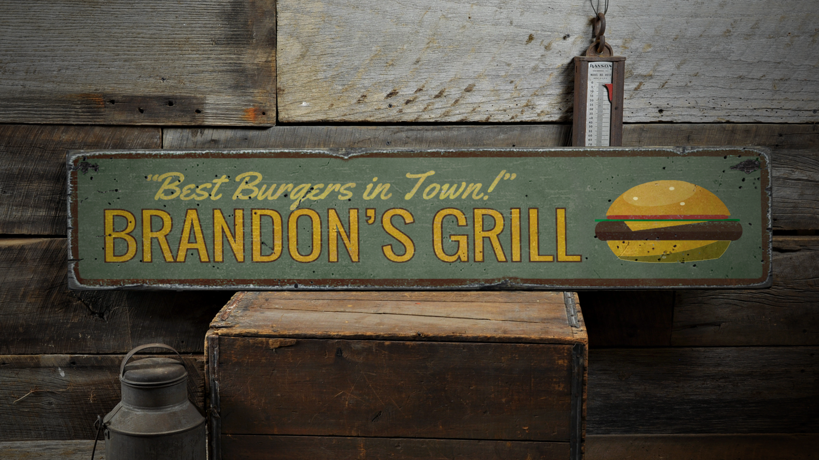 Best Burgers In Town, Personalzied - Rustic Distressed Wood Sign ENS1001691