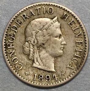 1894 Switzerland 5 Swiss Rappen Copper Nickle Helvatia Coin #SR500