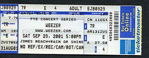 2001-Weezer-theSTART-unused-full-concert-ticket-Jones-Beach-Wantagh
