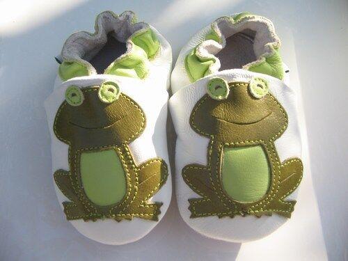 Lederpuschen Frog Frosch Jinwood Babyschuhe Krabbelschuhe