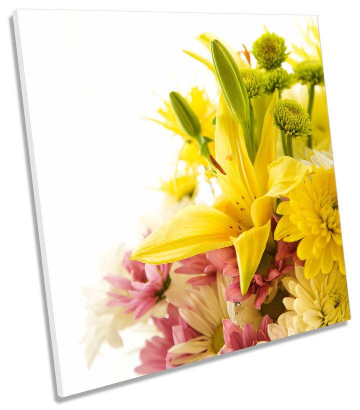 Bouquet of Flowers Floral SQUARE BOX FRAMED CANVAS Kunst Drucken