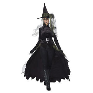 Women-039-s-Gothic-Wicked-Black-Witch-Oz-Halloween-Costume-Hat-Jacket-Skirt-XS-XL