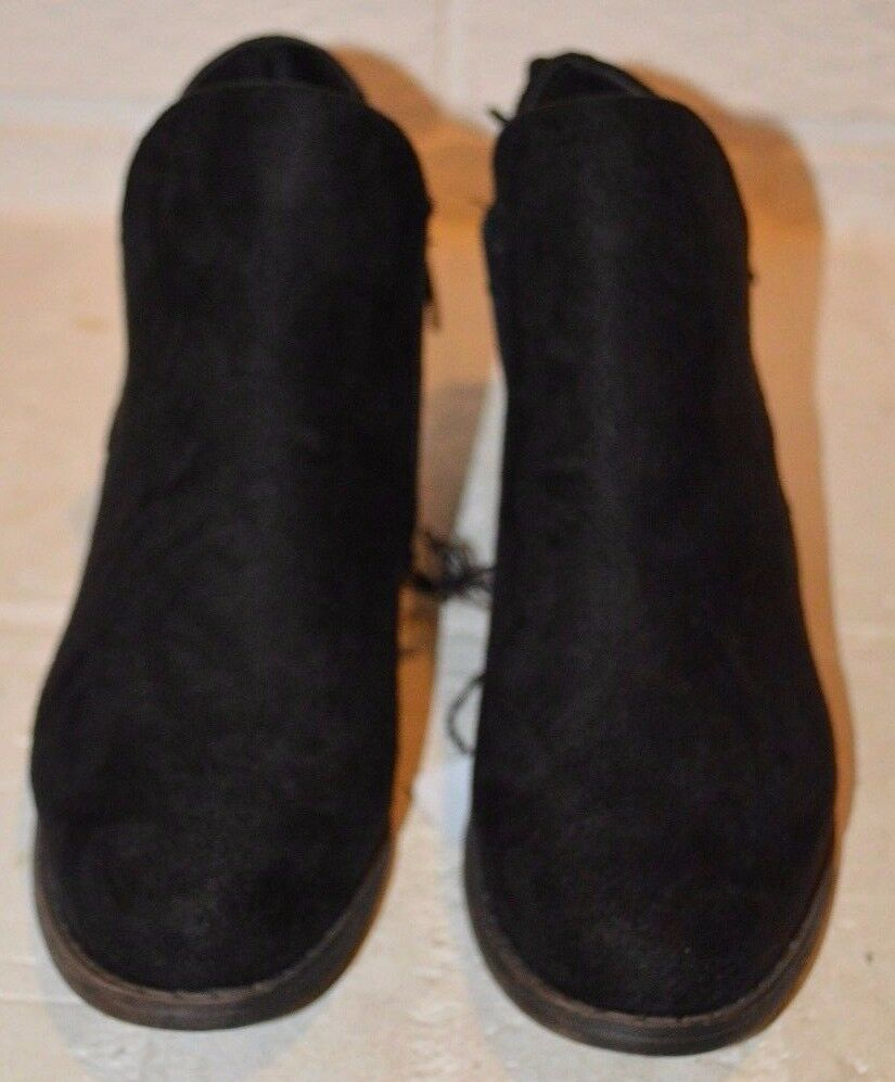 Women's etc! Black Slip-On Bow-tie Booties Ankle Boot Size 6-7