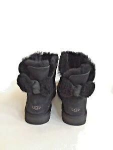 029ccdcbf8c Details about UGG ARIELLE MINI BAILEY FUR BOW BLACK BOOTS USA 11 / EU 42 /  UK 9.5 - NIB