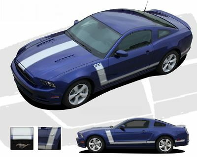 Ford Mustang 2010-2012 Boss Style Side Stripes Body Graphic Kit Bright White