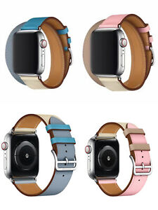 Genuine-Leather-Single-Tour-Double-Tour-Strap-Band-For-Apple-Watch-Series-4-3-2