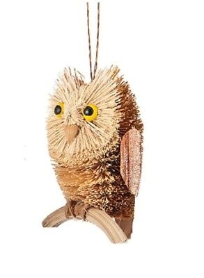 "GALLERIE II 4/"" NATURAL BURI BRISTLE RABBIT WOODLAND ANIMAL CHRISTMAS ORNAMENT"